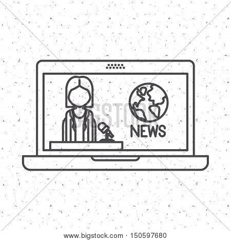 News Presenter woman inside laptop icon. News media communication broadcasting theme. Texture background. Vector illustration