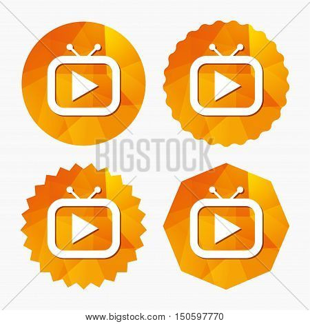 Retro TV mode sign icon. Television set symbol. Triangular low poly buttons with flat icon. Vector