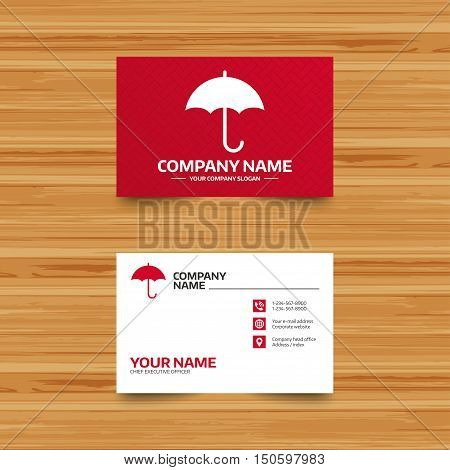 Business card template. Umbrella sign icon. Rain protection symbol. Phone, globe and pointer icons. Visiting card design. Vector