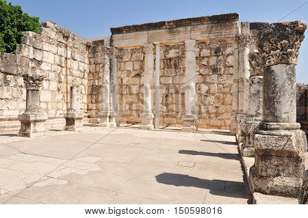 The ancient synagogue in Capernaum on June 19 2009 in Kfar Nahum near Tiberias Israel.It's among the oldest synagogues in the world.