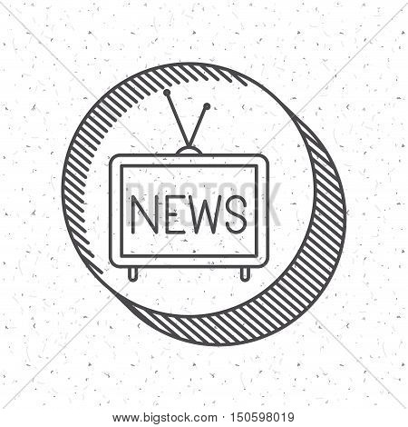 News and tv icon. News media communication broadcasting theme. Texture background. Vector illustration