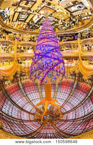 Paris, France - December 1, 2014: Upside down Swarovski christmas tree at the famous Galeries Lafayette department store on the Boulevard Haussmann on December 1th, 2014.