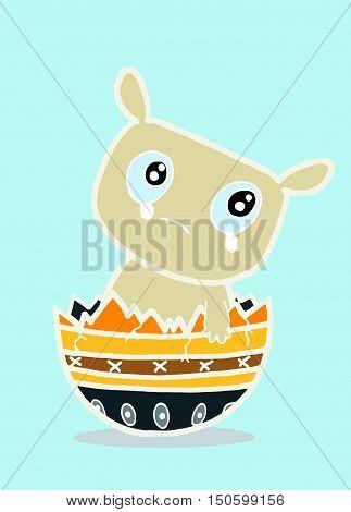 A Cute Newborn Baby Monster Sitting In A Broken Eggshell