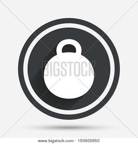 Weight sign icon. Sport symbol. Fitness. Circle flat button with shadow and border. Vector