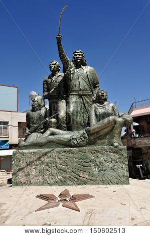 Sculpture in the center of the Druze village of Majdal Shams in the Golan Heights Israel.