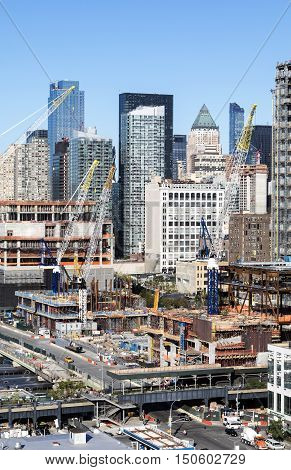 View of the big construction development at the Hudson Yards in Manhattan. This project is located on the West Side of the city and will feature residential new offices and retail spaces.