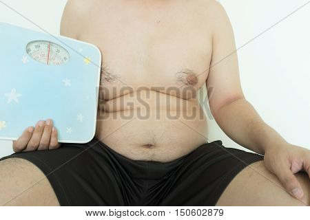 Fat man with Weight Scale on white background