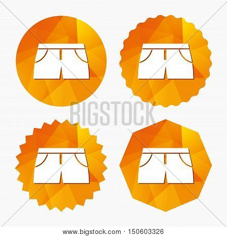 Women's sport shorts sign icon. Clothing symbol. Triangular low poly buttons with flat icon. Vector