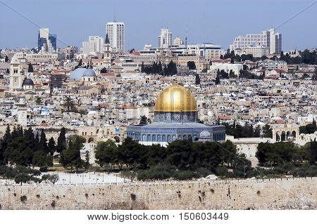 A view of Jerusalem old city and the dome of the rock from Mount Olives