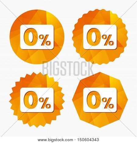 Zero percent sign icon. Zero credit symbol. Best offer. Triangular low poly buttons with flat icon. Vector