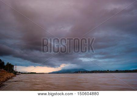 Sunset at The Mae khong river in Chiangsaen, Chiangrai in Thailand