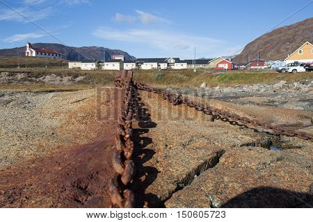 old chain rusty link from stone to sea. metal rusty texture.old and strong concept by retro colour