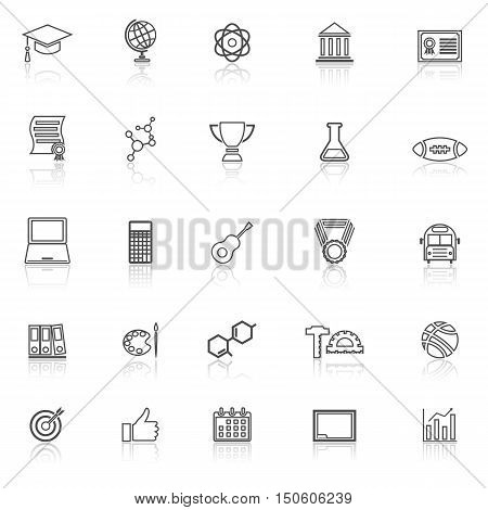 College line icons with reflect on white background, stock vector