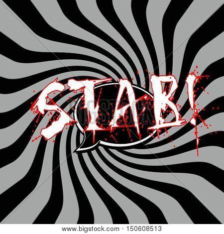 Stab Speech bubbles wording on Striped sun black-gray background