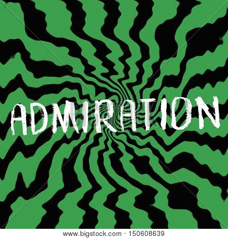 admiration wording on Striped sun black-green background