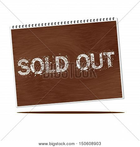 sold out white wording on Notebook wood background