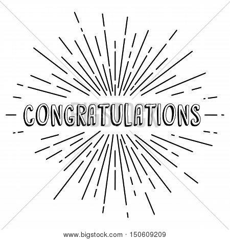 Congratulations Greetings Sunrays Retro Theme