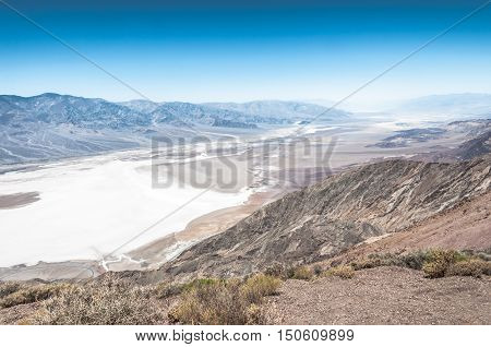 View of Badwater from Dantes View in Death Valley National Park, California