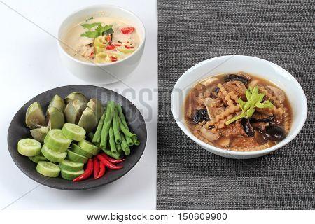 Organic Thai recipe as coconut milk and fermented soy bean sauce call