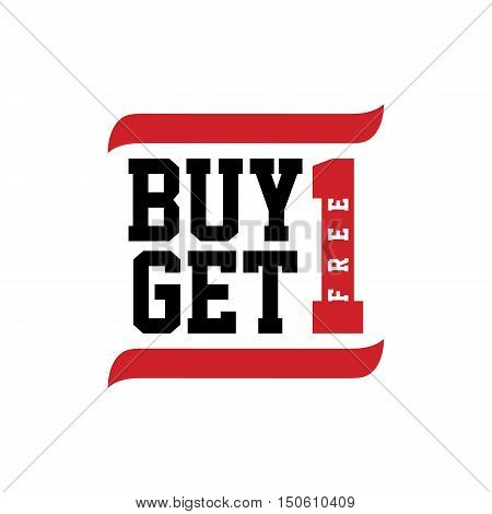 black red text buy one get one vector art illustration