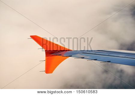 Left wing with winglet of a commercial narrow-body aircraft