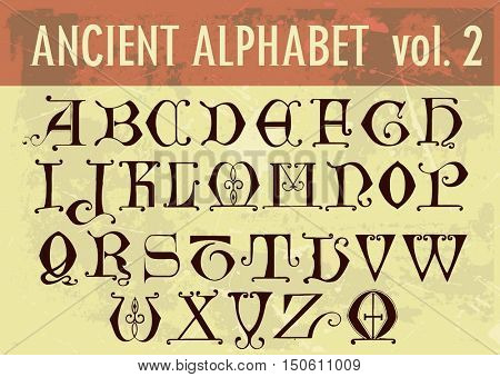 Ancient alphabet: ornamental calligraphic letters from 14th century. Full 26 letters alphabet, some letters duplicate with different design.