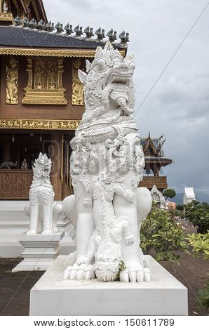 White sculpture SING-HA temple in Thailand .