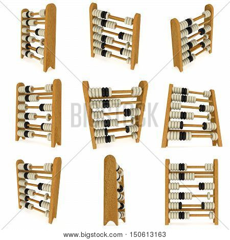 3d wooden black and white toy abacus set. 3d render illustration isolated on white. Education concept collection.