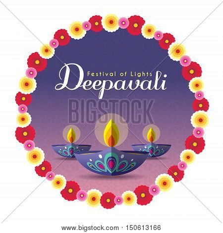 Diwali or Deepavali greeting with beautiful burning diwali diya (india oil lamp) and floral wreath isolated on white background. Festival of Lights celebration vector illustration.