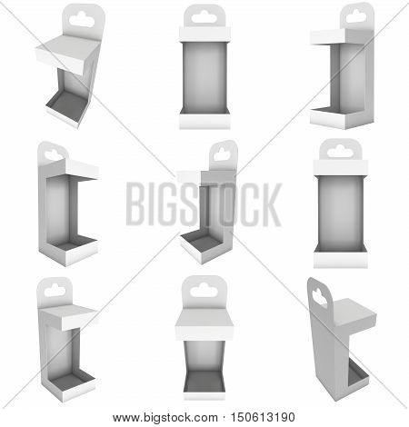 White paper hanging open box set. Packaging container with hanging hole. Mock up template. 3d render illustration isolated on white background.