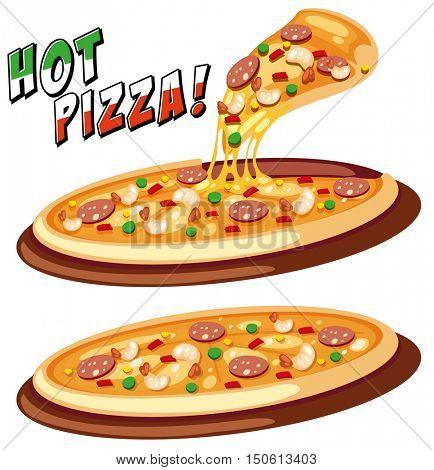 Two trays of Italian pizza illustration