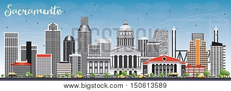 Sacramento Skyline with Gray Buildings and Blue Sky. Business Travel and Tourism Concept with Modern Architecture. Image for Presentation Banner Placard and Web Site.