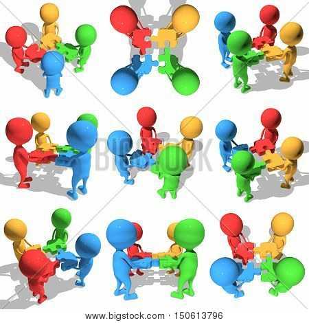 Merger concept set. Four businessmen trying to connect red blue green and yellow puzzles. 3d render illustration isolated on white background.