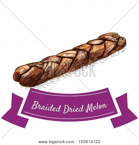 Braided dried melon colorful illustration. Vector illustration of braided dried melon.