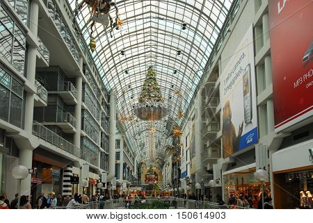 Toronto Canada - December 30 2006: Shoppers visit the Eaton Centre mall in Toronto Canada during the holiday season.