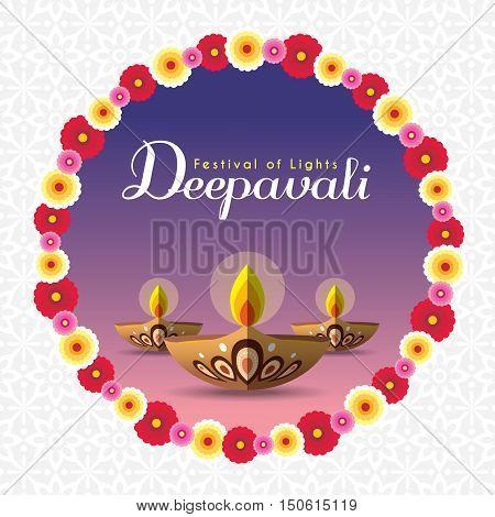 Diwali or Deepavali greeting with beautiful burning diwali diya (india oil lamp) and floral wreath. Festival of Lights celebration vector illustration.