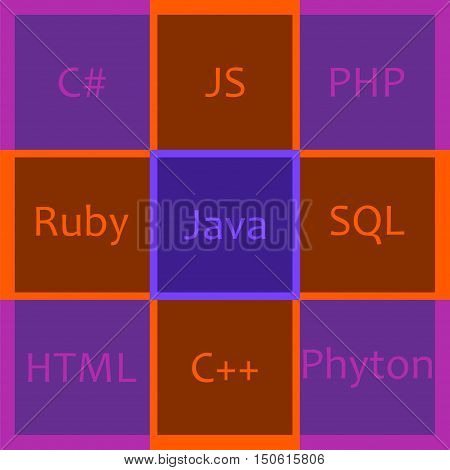 Most popular programming languages in bright squares. Vector illustration for computer coding technology and frameworks