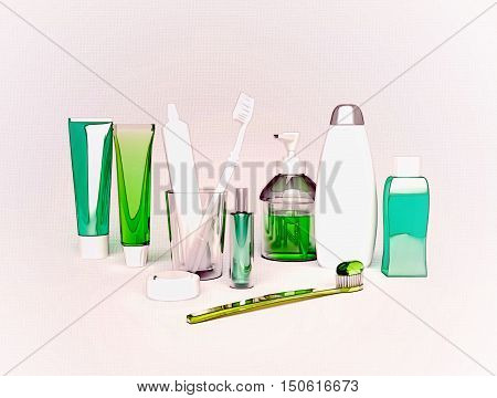 Means of hygiene. Toothbrush, toothpaste, tooth thread, tooth balm, soap, shampoo. 3D illustration