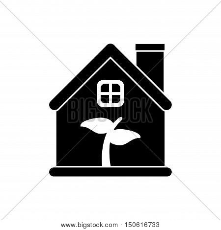 leaf inside house  icon. Ecology renewable and conservation theme. Isolated design. Vector illustration