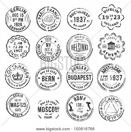 Set with 16 round isolated stamp postal signs with different departure cities in vintage style flat vector illustration