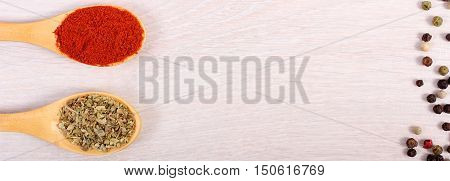 Spices On Wooden Spoon On Table, Copy Space For Text