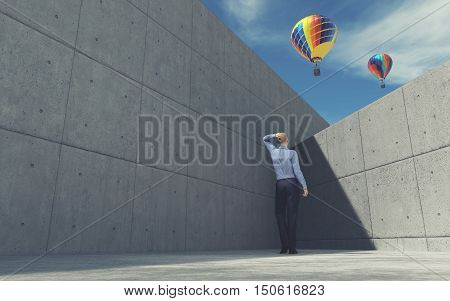 Young man looking over the wall at air balloon. This is a 3d render illustration
