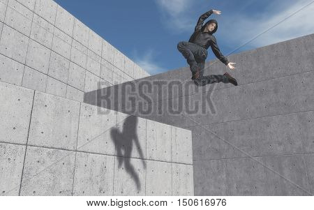 Young man dancing between walls. This is a 3d render illustration