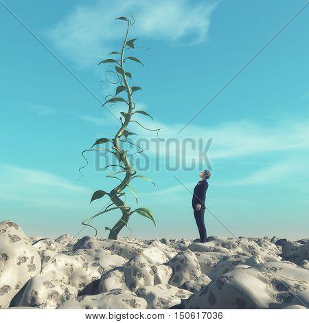 Man admiring a huge beanstalk. This is a 3d render illustration