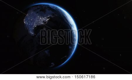 View of the earth from space and cities lights. This is a 3d render illustration