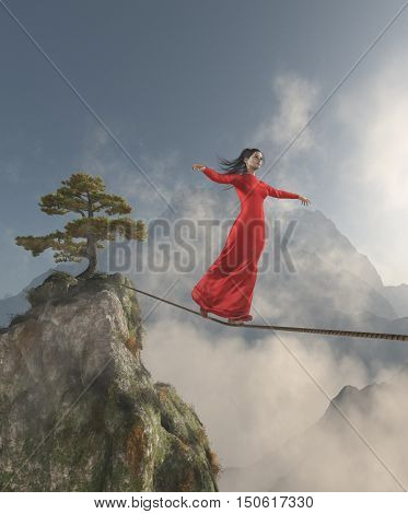 Elegant womanl walking in balance on the rope over the mountains. This is a 3d render illustration.