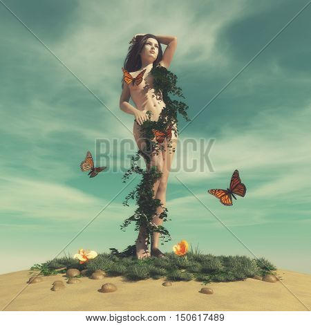 Naked woman covered by creeper plant and butterflies. This is a 3d render illustration.