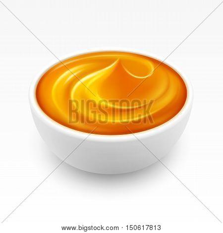 Bowl of dense Amber Honey Close up Isolated on White Background