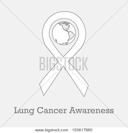 International day of lung cancer awareness vector illustration with white ribbon traditional symbol and earth globe in similar colors. Perfect for badges banners ads flyers on oncology problem