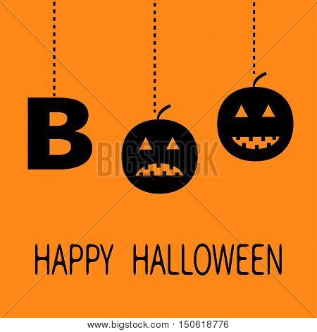 Hanging word BOO text with smiling sad black pumpkin silhouette. Dash line thread. Happy Halloween. Greeting card. Flat design. Orange background. Vector illustration